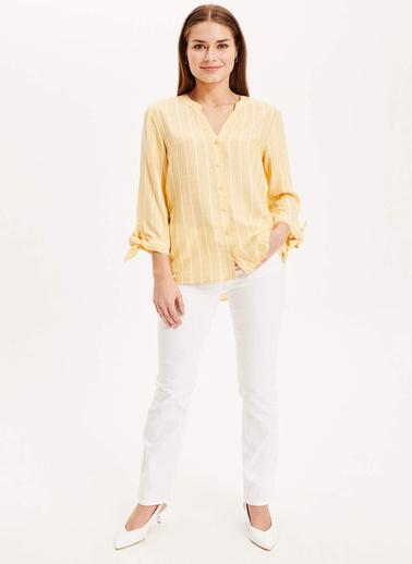 DeFacto Hakim Yaka Gömlek Sarı